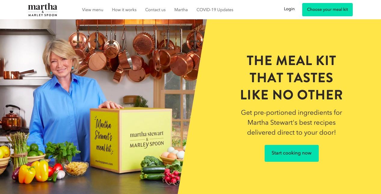 Martha and Marley Spoon main page