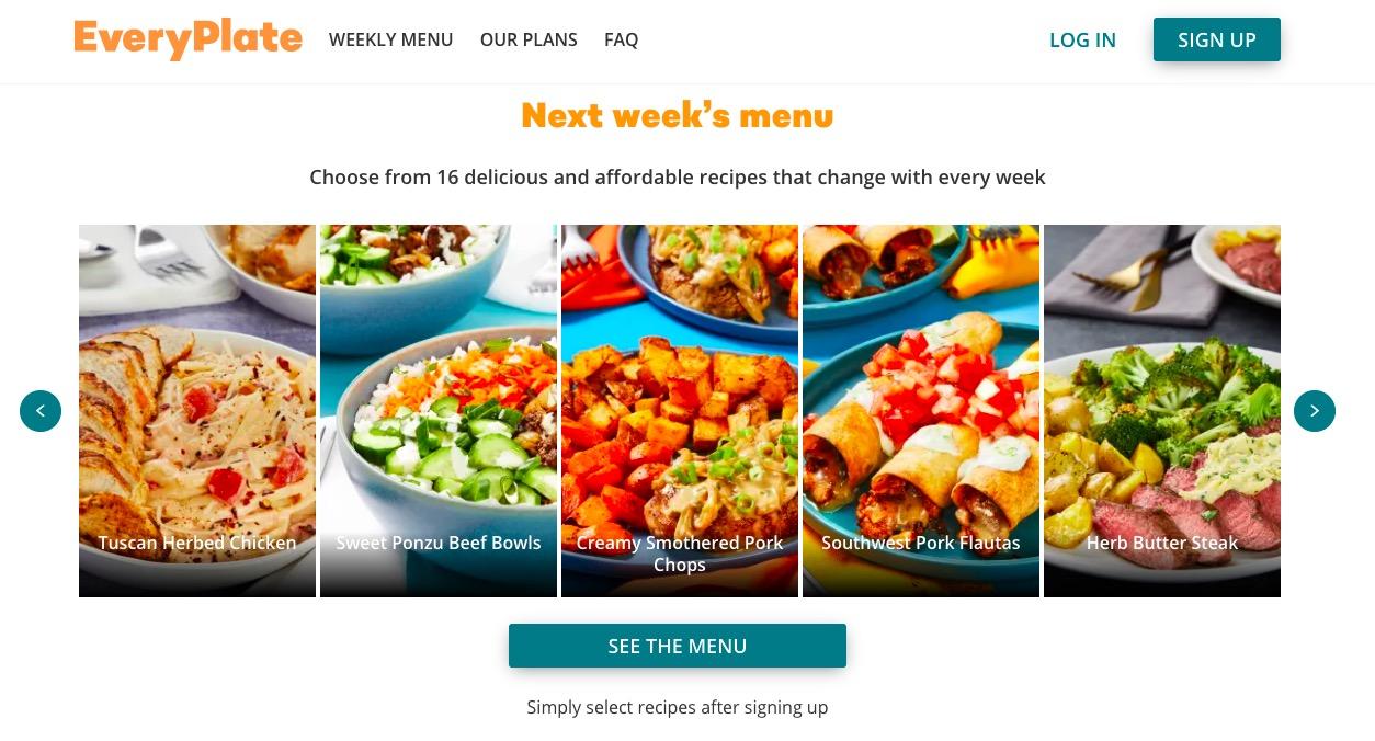 Everyplate menu