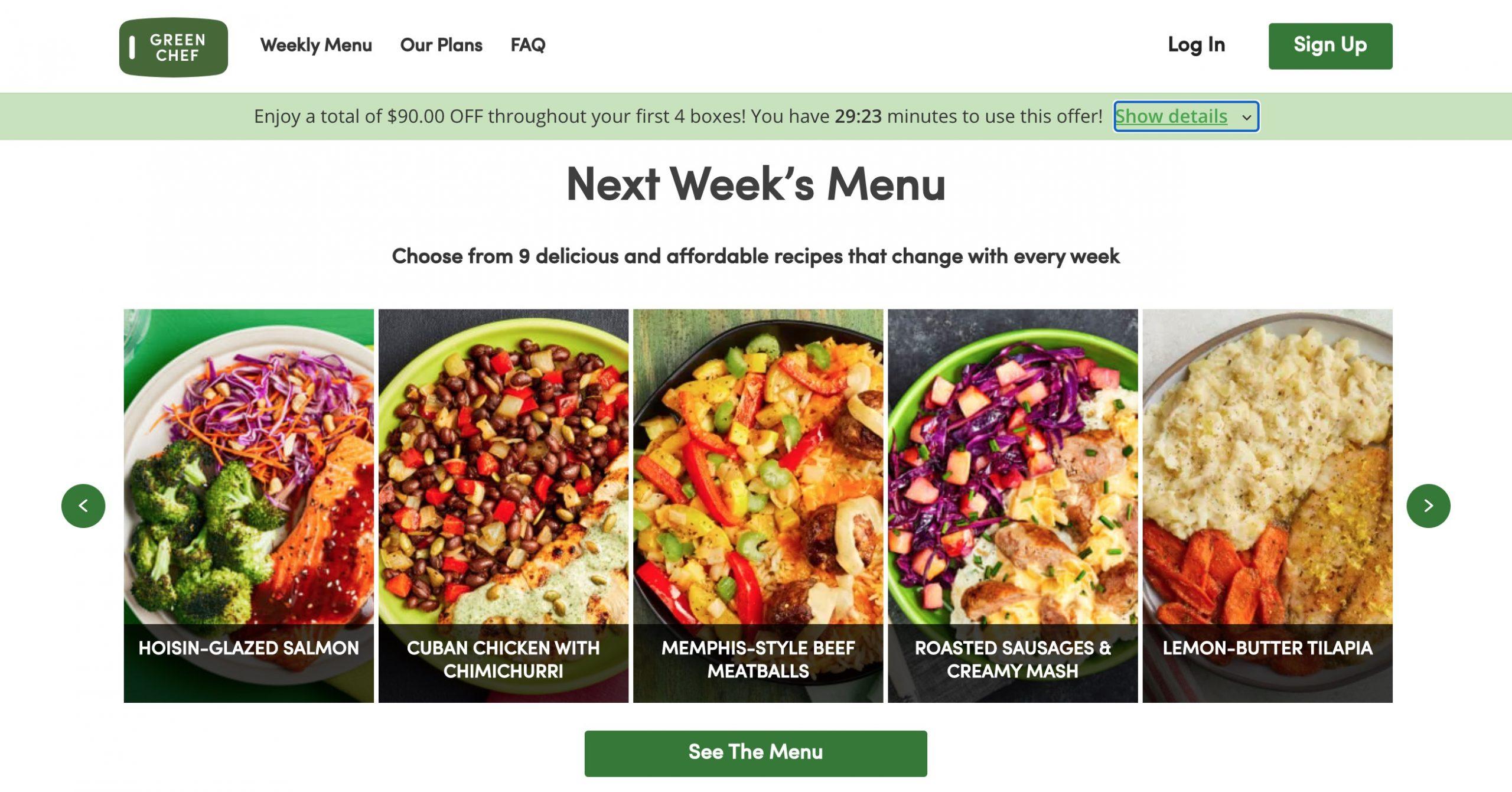 Green Chef week menu