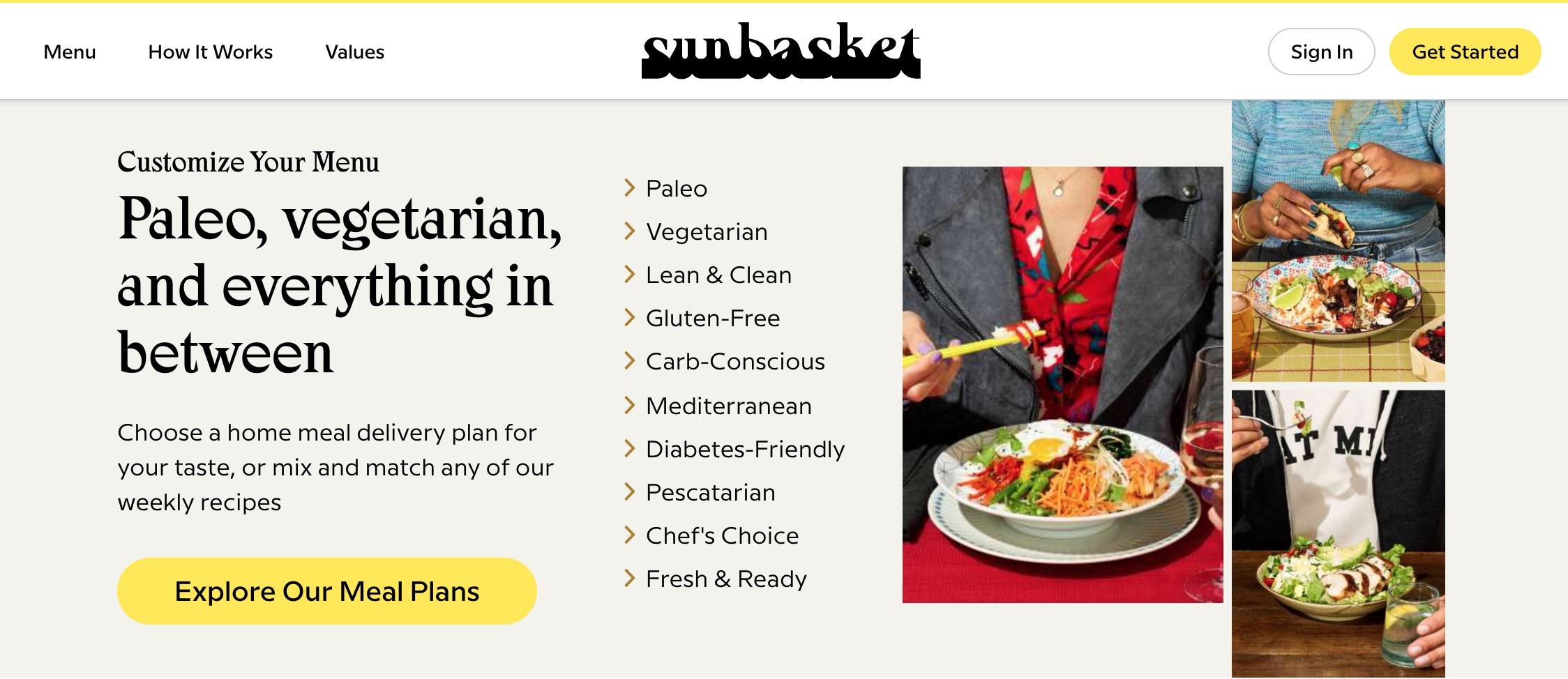 SunBasket customize menu